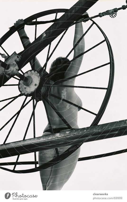 lost Naked Woman Posture Nude photography Black & white photo Industrial Photography Perspective Bicycle Female nude Feminine Woman's body