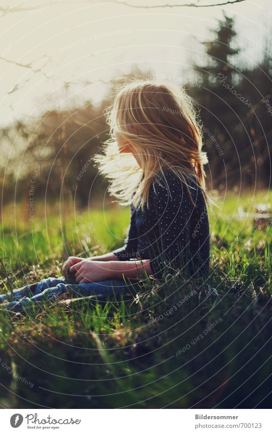 Human being Child Nature Youth (Young adults) Blue Green Plant Sun Relaxation Young woman Girl Warmth Life Meadow Feminine Grass