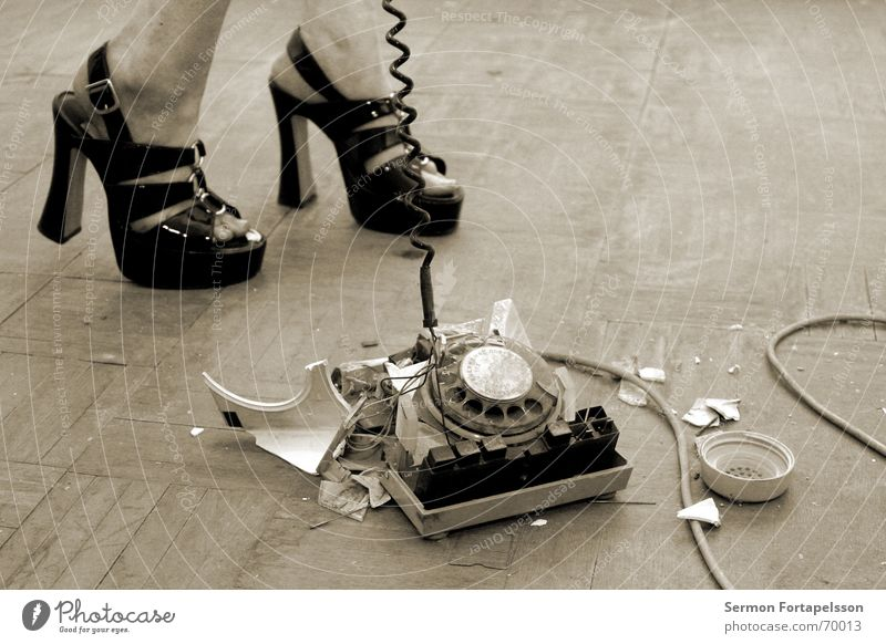 emily's fetish XVIII Footwear Telephone Parquet floor Broken Destruction Woman Fetishism Telecommunications Leather Anger Go crazy Lovesickness Date