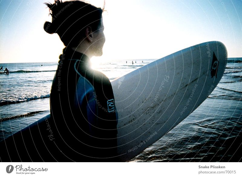 Where are they? Surfing Surfboard Neoprene Ocean France Sunset Longing Water Wait Evening Blue Contrast