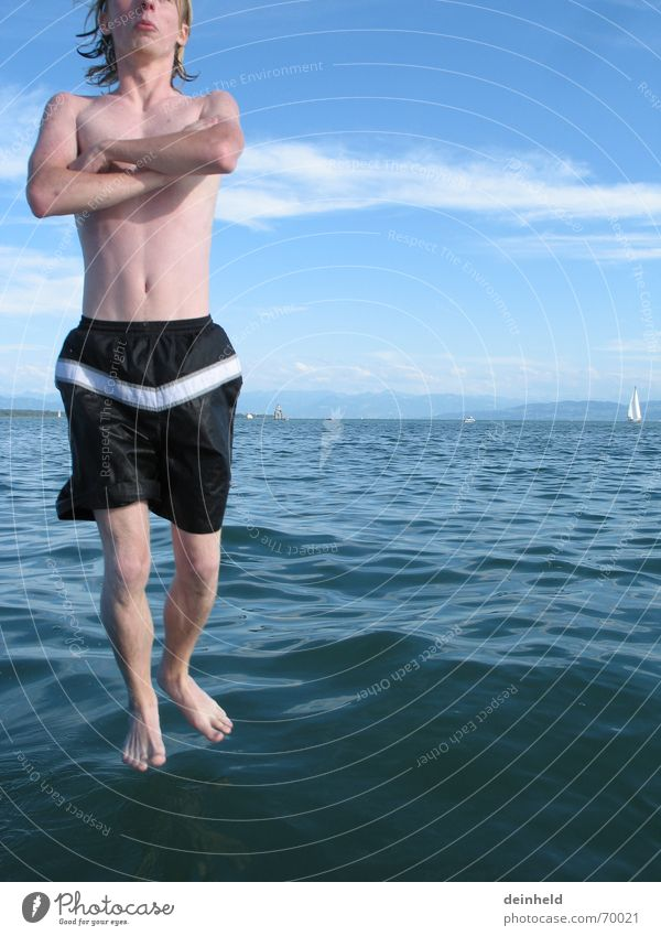 Water Joy Stand Swimming & Bathing Meditation Magic Absurdity Humor Swimming trunks Lake Constance