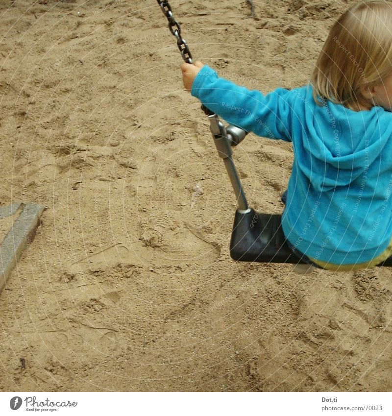 swing I Joy Playing Kindergarten Child Toddler Infancy 1 Human being 1 - 3 years Sand Park Playground Blonde Footprint Movement To hold on To swing Blue