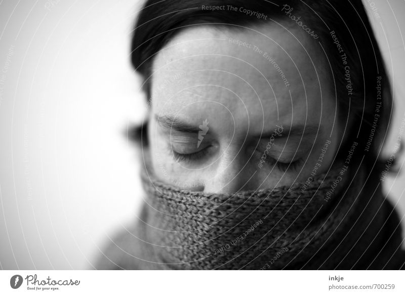 Human being Woman Relaxation Calm Face Adults Warmth Life Sadness Emotions Style Gray Healthy Moody Dream Meditative