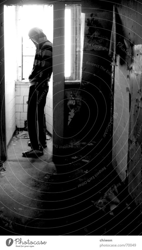 Human being Old White Black Loneliness Room Dirty Industrial Photography Stand Stripe Toilet Guy Leipzig Flow Hooded (clothing) Cuddly