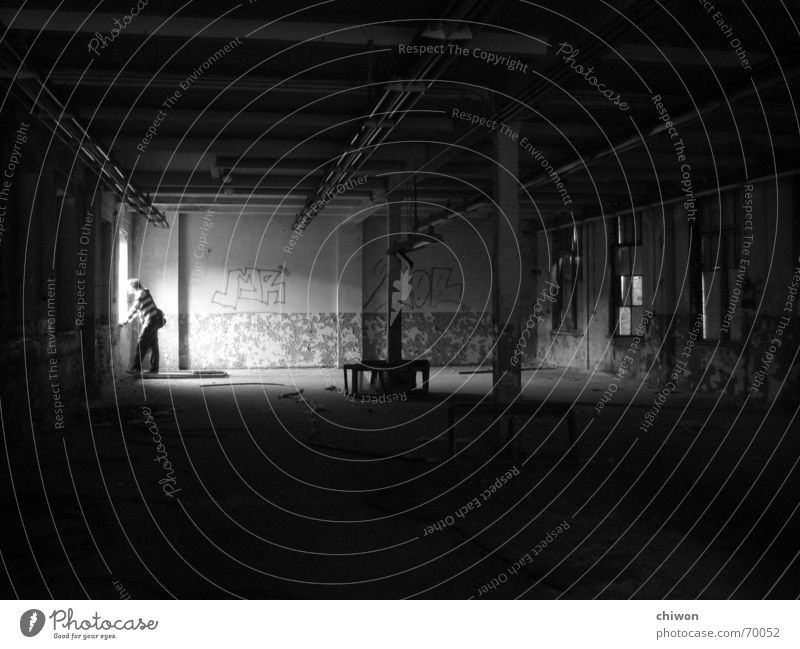 Human being White Black Loneliness Dark Window Room Dirty Industrial Photography Guy Leipzig Warehouse