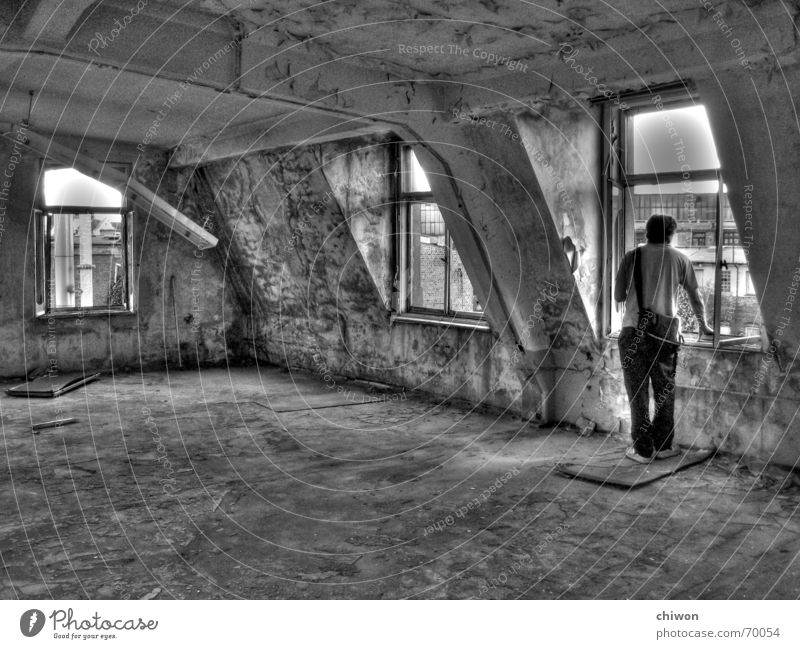 live rent-free Black White Leipzig Building for demolition Flat (apartment) Window Lamp Broken Untidy Furniture Interior design Man Bag Loneliness Vantage point