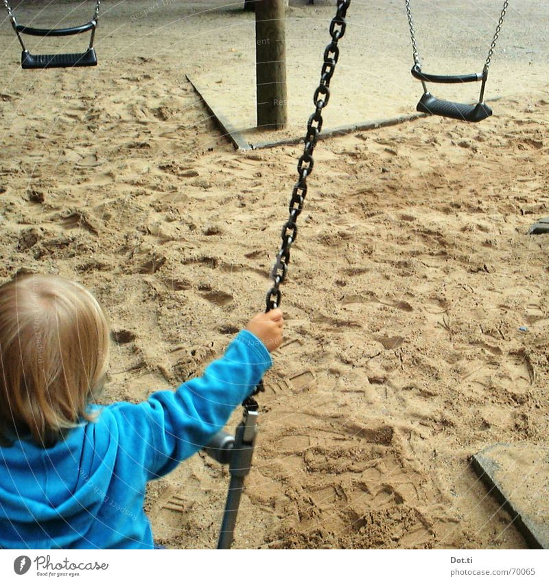 swing II Playground Child Toddler To hold on Park Turquoise Hooded sweater Blonde Footprint Diagonal Joy Earth Sand Swing Wing higher! push Chain Movement