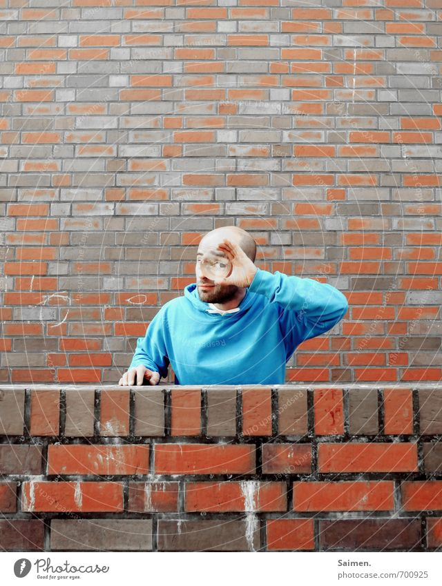 I see eye disch IV Human being Masculine Man Adults Head Face Eyes 1 18 - 30 years Youth (Young adults) Looking Wall (barrier) Facade Structures and shapes Line