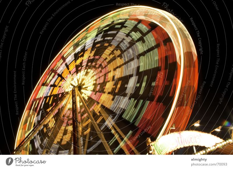 high speed Fairs & Carnivals Ferris wheel Night Multicoloured Electric bulb Lamp Round Chemnitz Long exposure carousel christmas market