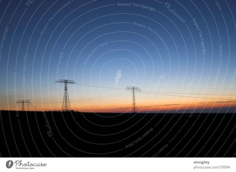 Landscape Field Electricity Cable Dusk Chemnitz