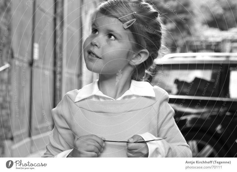 Little rascal Girl Friendliness Sweet Graceful Boy (child) Kindergarten Heidi Child Braids Dreamily Open Portrait photograph Exterior shot Building cute mouse