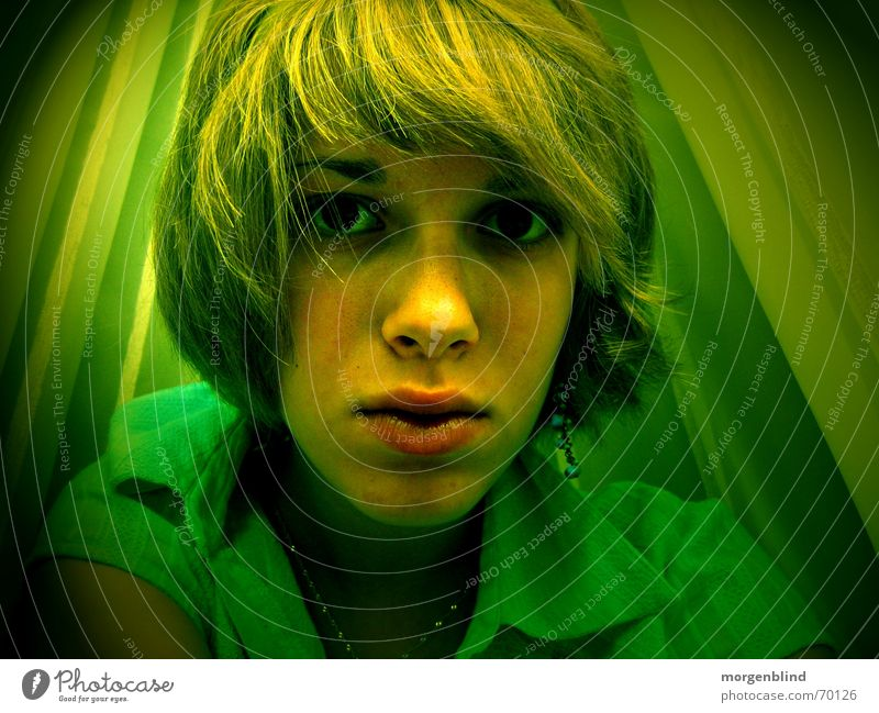 -untitled- Green Woman Yellow Emotions Moody Lips Calm photographic art Hair and hairstyles Doubt Nose Eyes Snapshot Irritation