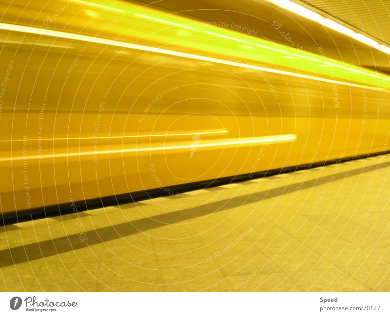 speed of light Long exposure Yellow Tunnel Platform Speed Speed of light Railroad Distorted Train station speedtube stone pattern Stone Energy industry