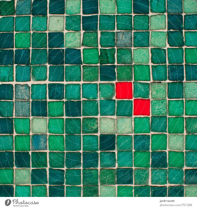 double squares Style Arts and crafts Decoration Stone Ornament Sharp-edged Green Red Tolerant Accuracy Mosaic Seam Surface Tile Protruding Street art Pixel
