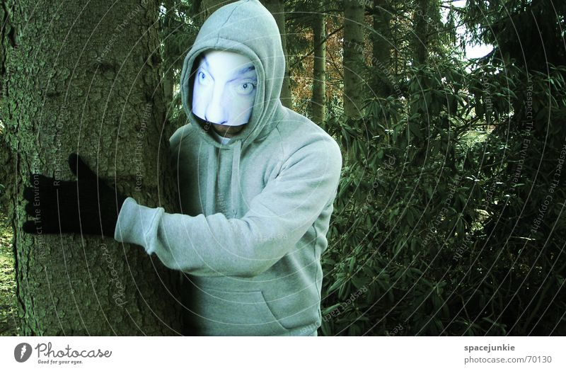 the man behind the mask (2) Man Threat Eerie Forest Tree Ambush Mask Human being Face Hide Hiding place Behind