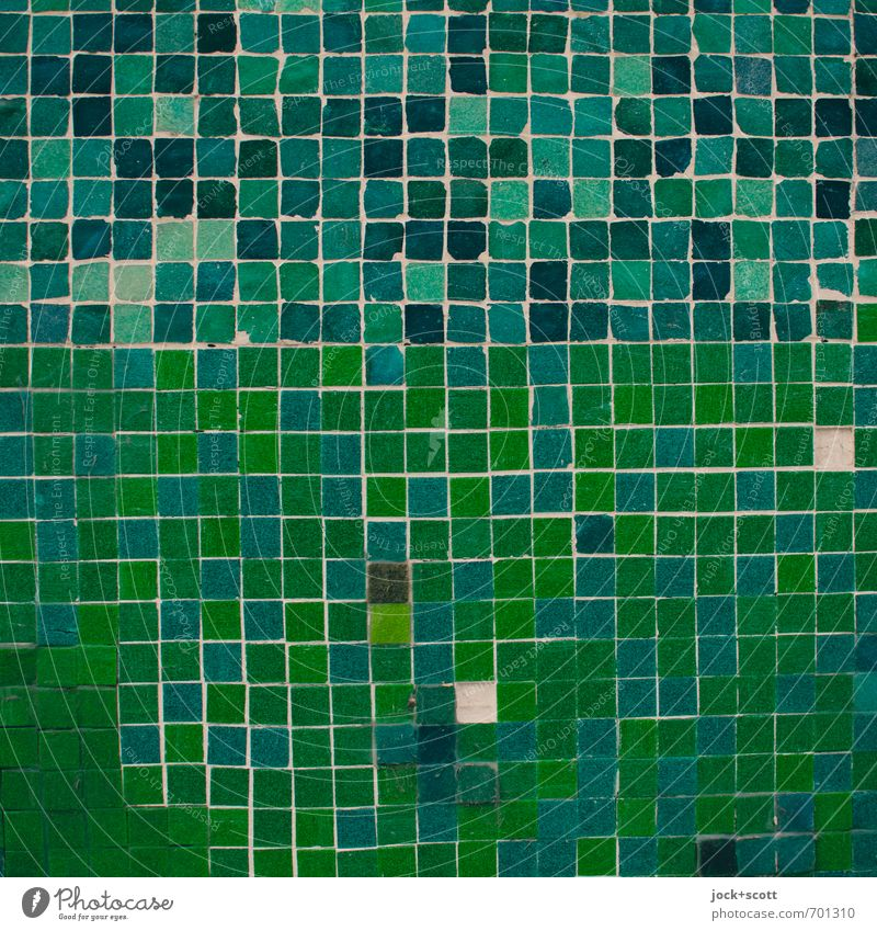 battered square Style Arts and crafts Wall (building) Square Sharp-edged Green Change Mosaic Seam Surface Tile Street art Geometry Pixel Repair Broken