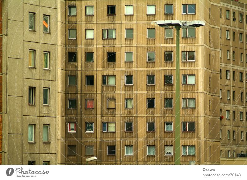 Berlin bear Facade Window Concrete Prefab construction Flat (apartment) Lantern Slum area Alexanderplatz Architecture