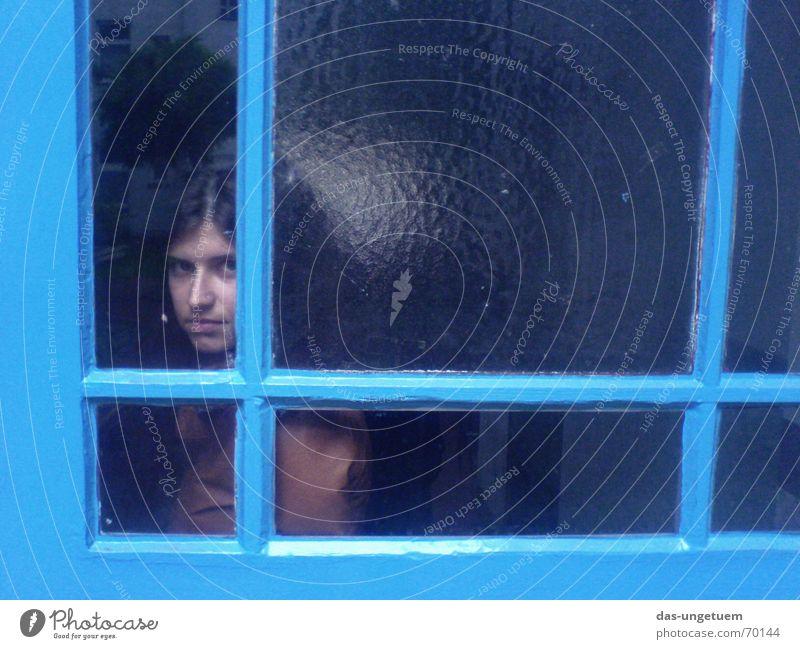 Woman Blue Window Goodbye Window pane Backward Varnish