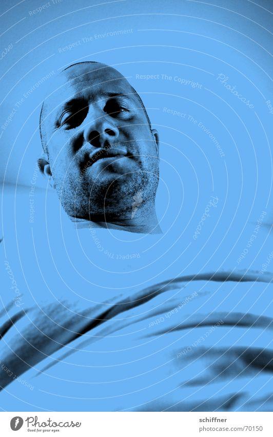 Man Blue Masculine Row Bald or shaved head Sublime Designer stubble