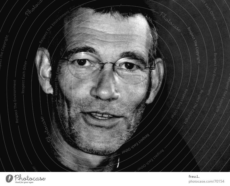 Man Laughter Masculine Eyeglasses Open Facial hair Humor Characteristic Stopper Stubble 50 plus Laugh lines Reading glasses