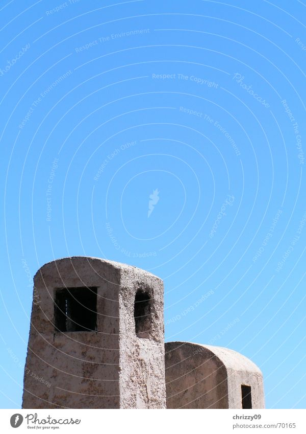 Blue smoke Summer Sky Blue sky Chimney Beautiful weather Soot Cloudless sky Deserted 2 Hollow Rectangle Detail Exterior shot Colour photo Round