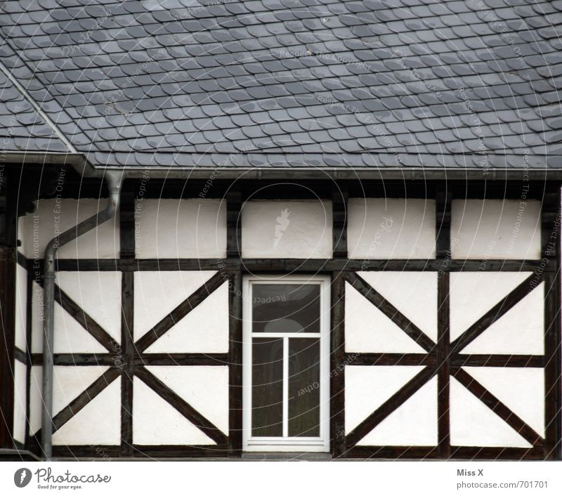 xox Flat (apartment) House (Residential Structure) Building Architecture Facade Window Roof Old Half-timbered facade Half-timbered house Colour photo
