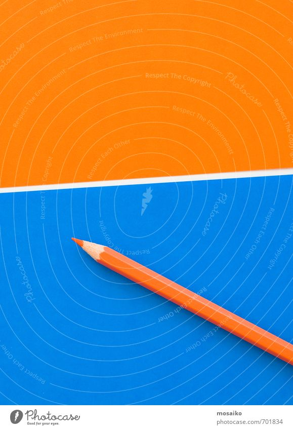 orange pencil Blue Joy To talk Style Think School Work and employment Business Lifestyle Office Design Contentment Orange Study Paper Idea