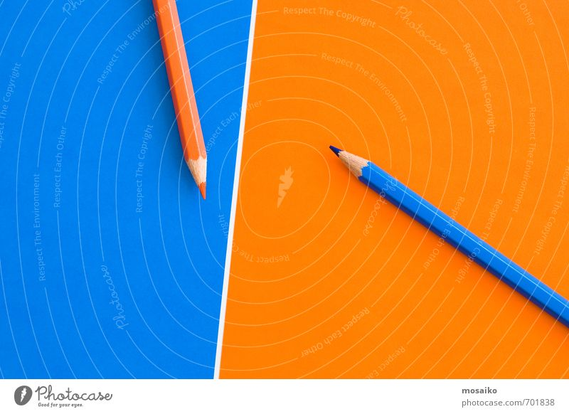 orange and blue pencils Blue White To talk Playing Think Background picture School Work and employment Orange Success Communicate Academic studies Study Idea Uniqueness Education