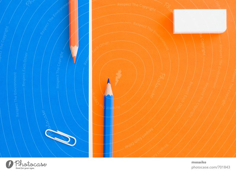 creative desk Blue White Style Bright Orange Business Lifestyle Contentment Design Success Creativity Study Paper Clean Copy Space Education