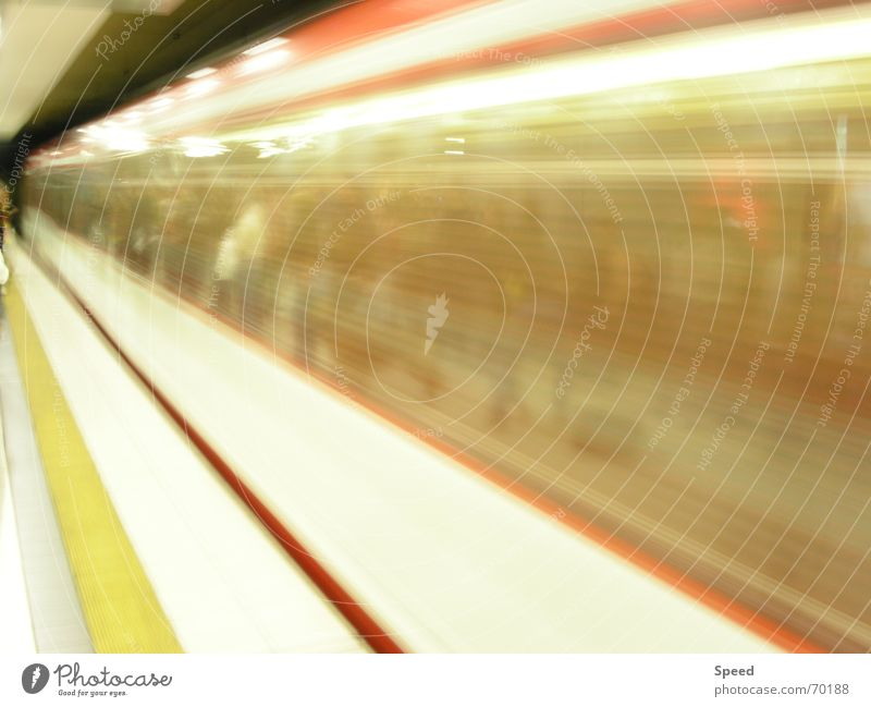 Yellow Railroad Speed Infinity Tunnel Train station Distorted Platform Speed of light Building line