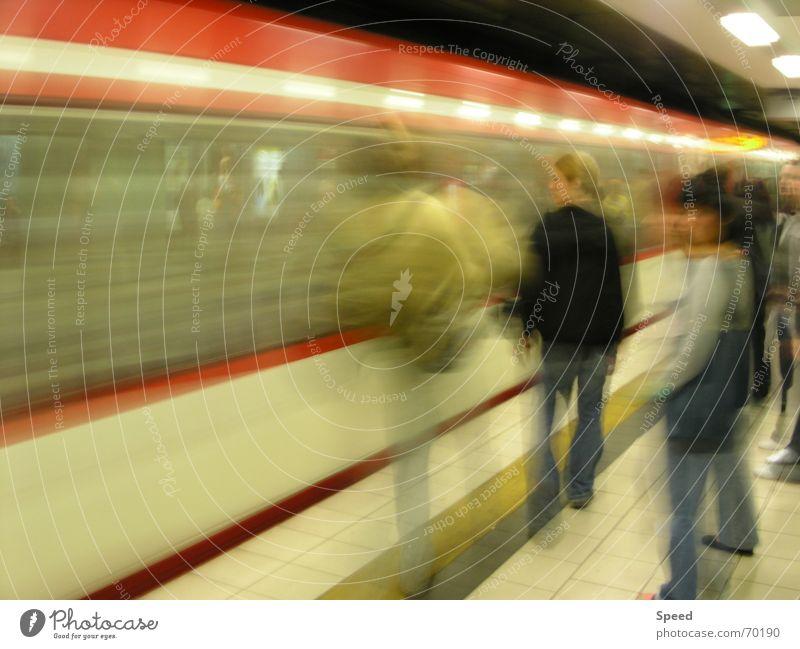 Human being Yellow Wait Railroad Speed Tunnel Train station Passenger Distorted Visitor Platform Speed of light