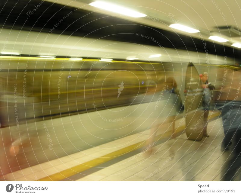 Human being Yellow Speed Railroad Tunnel Train station Surfer Platform Distorted Passenger Speed of light