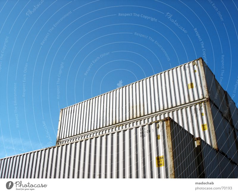 Sky Blue Watercraft Logistics Moving (to change residence) Symbols and metaphors Beautiful weather Container Goods Storage Delivery Cargo