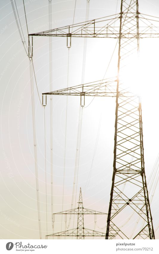 Sky Sun Energy industry Electricity Cable Electricity pylon Transmission lines Renewable energy Power transmission