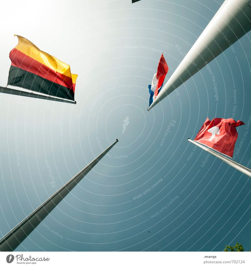 border triangle Cloudless sky Beautiful weather Sign Flag Politics and state Europe German Flag Swiss flag France Might Pride Elections Wind Future Colour photo