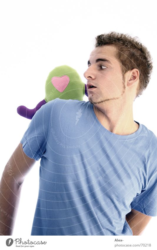 Man Youth (Young adults) Love Heart Fear Help T-shirt Facial hair Backwards Amazed Extraterrestrial being Monster Helpless Attack Scare Cuddly toy