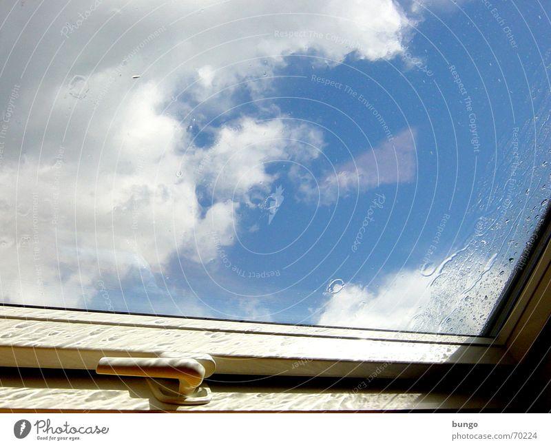 """in aspergine denique in aspergine te reperio..."" Sky Clouds Reflection White Skylight Door handle Lever Rain Window Storm Closed Boredom Grief Enclosed"