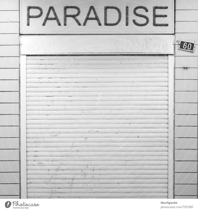 Paradise closed Antwerp Belgium Town Downtown Manmade structures Building Facade Retro Trashy Gloomy Sadness Apocalyptic sentiment Shopping Trade Crisis Fiasco