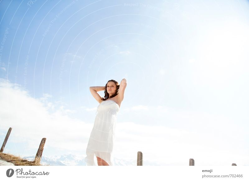 white and blue Feminine Young woman Youth (Young adults) 1 Human being 18 - 30 years Adults Sky Dress Bright Beautiful Blue White Colour photo Exterior shot