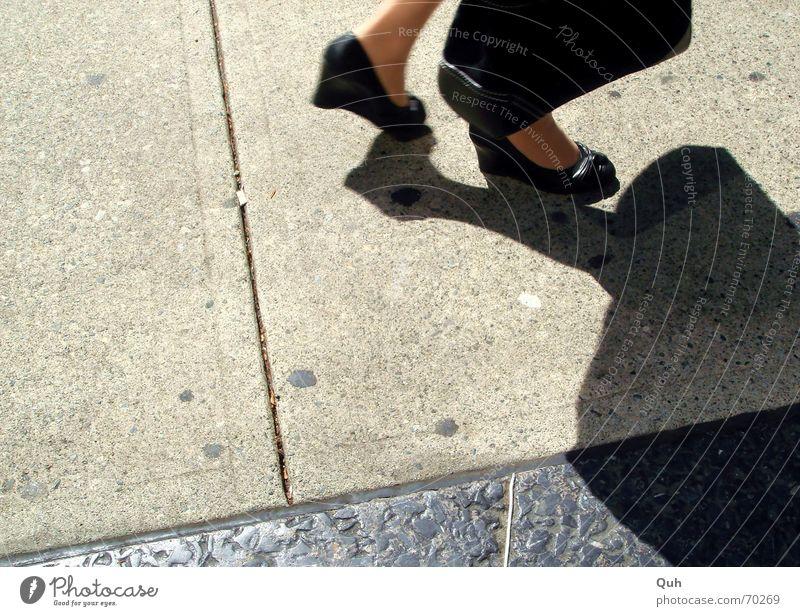 business feet Footwear High heels Black Asphalt Sidewalk Woman Bag Drop shadow Leather Clothing peeptoe Street Shadow Sun Feet wedge heel Paving stone