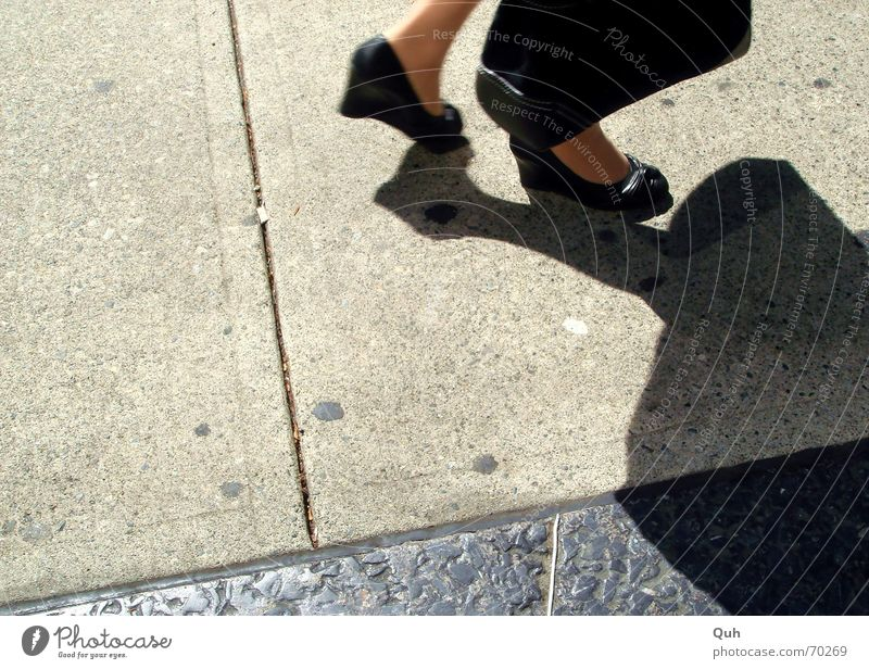 Woman Sun Black Street Feet Footwear Clothing Asphalt Sidewalk Leather Bag Paving stone High heels Drop shadow