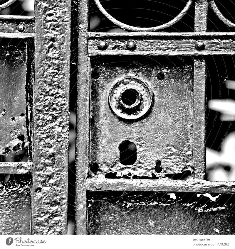 doormen Entrance Rust Patina Wrought iron Closed Black White Gate Castle Old Derelict patinated wrought-iron without handle Protection Wrought ironwork