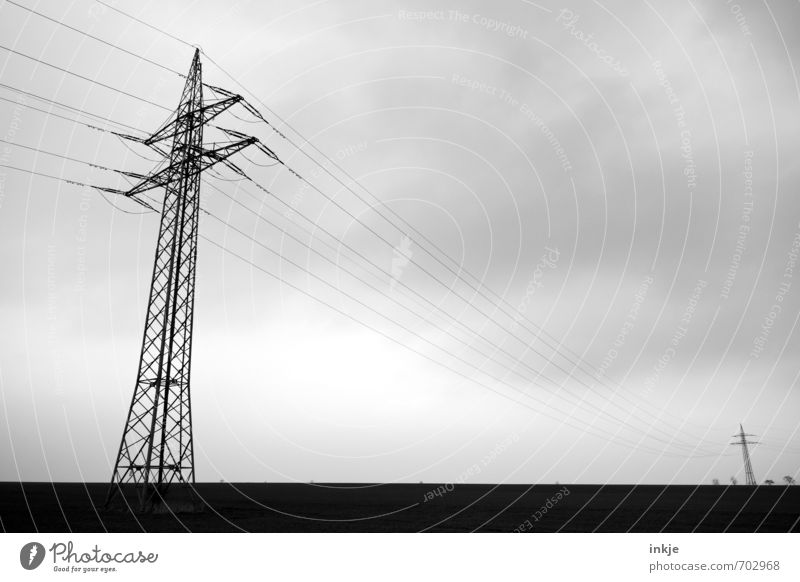 they couldn't come together Energy industry Technology Cable Electricity Power transmission Environment Landscape Sky Clouds Horizon Bad weather Fog Field