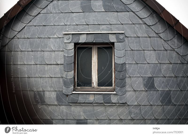 Old Loneliness House (Residential Structure) Dark Window Wall (building) Emotions Gray Facade Living or residing Closed Roof Protection Mysterious Historic Window pane