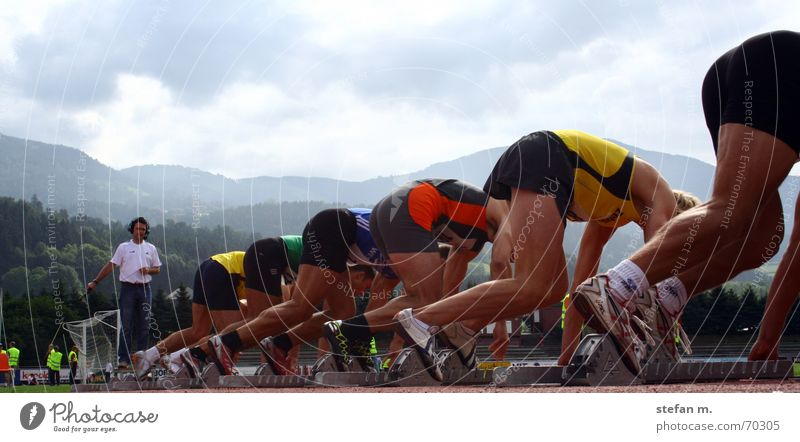 ...ready... Track and Field Stadium Sporting event Hundred-metre sprint Completed Starting block (track and field) Man Decathlon Triathlon 100m Walking starter