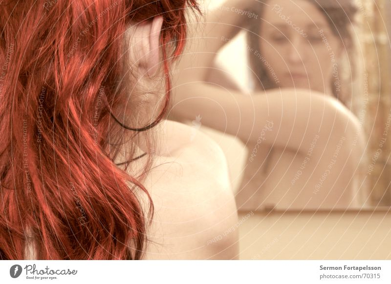 Woman Red Feminine Naked Hair and hairstyles Nude photography Dream Orange Arm Skin Bathroom Factory Mirror Drape Female nude Shoulder