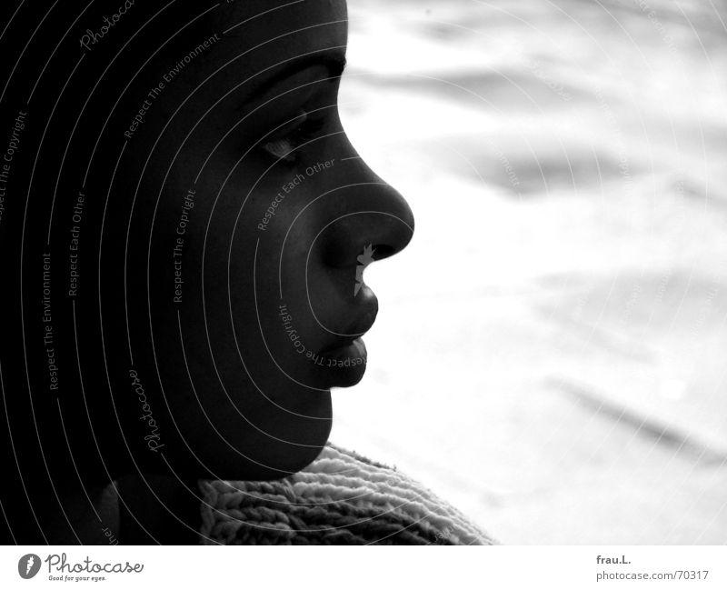Woman Human being Child Beautiful Feminine Window Dream Rain Wet Rope Soft Asphalt Sweater Shoulder Smooth Dreamily