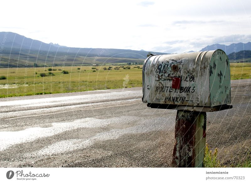Old Loneliness Street Mountain USA Card Americas Rust Mail Mailbox