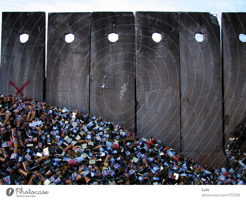 Walls Of Junk Sky cement junk waste can mountain dots holes cross garbage Wall (barrier)