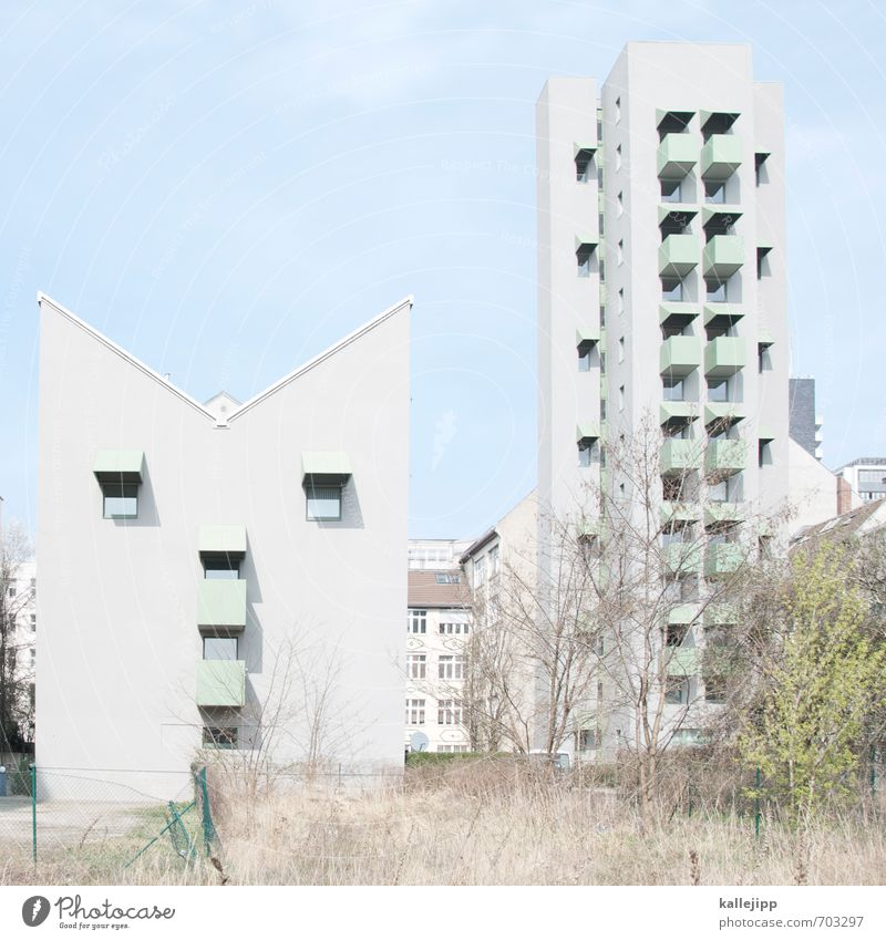 Dick & Doof Town House (Residential Structure) Building Architecture Facade Looking Gray Heaven Blue Face Facial expression Colour photo Exterior shot Deserted